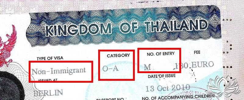 visa retraite non immigrant oa multiple entree thailande