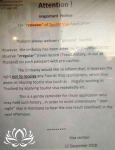 renforcement de la législation, immigration thailande, ambassade de Vientiane au Laos